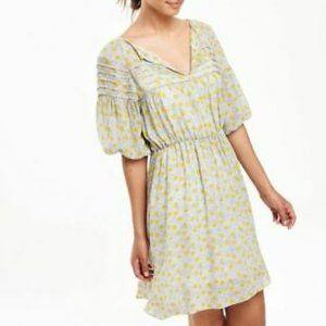 Boden faye dress puff sleeve polka dot dress size 10 Long/Tall